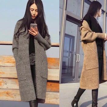 2017秋冬新款女装时尚宽松针织衫毛衣中长款小香风加厚开衫外套潮