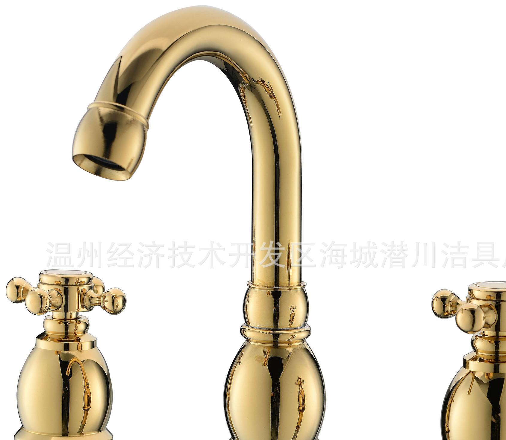 三件套分体面盆水龙头 全铜仿古面盆龙头 分体浴缸龙头 仿古龙头