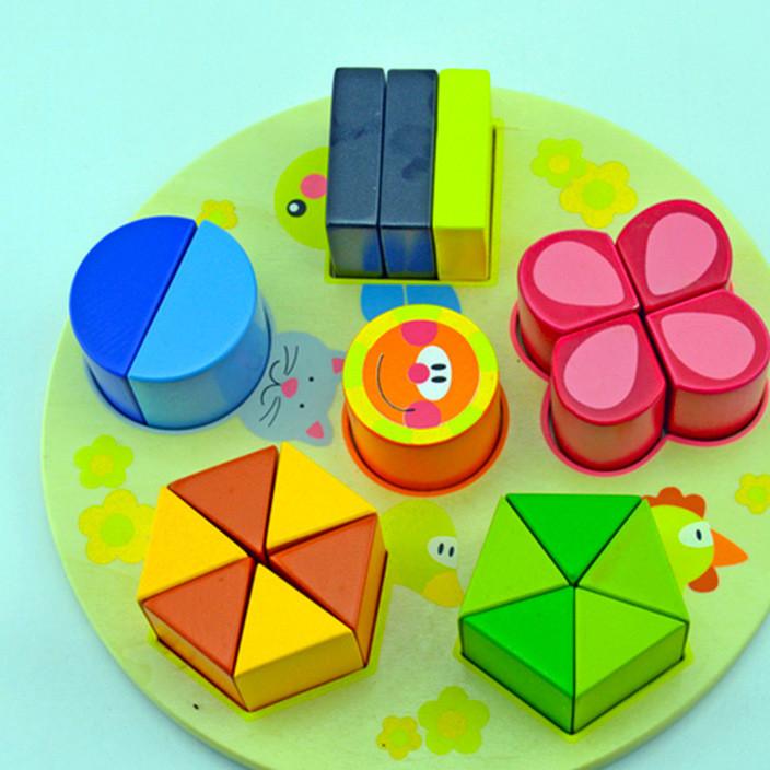 厂家直销木制积木儿童闹钟拼板玩具 木质拼图圆形镶板定制批发