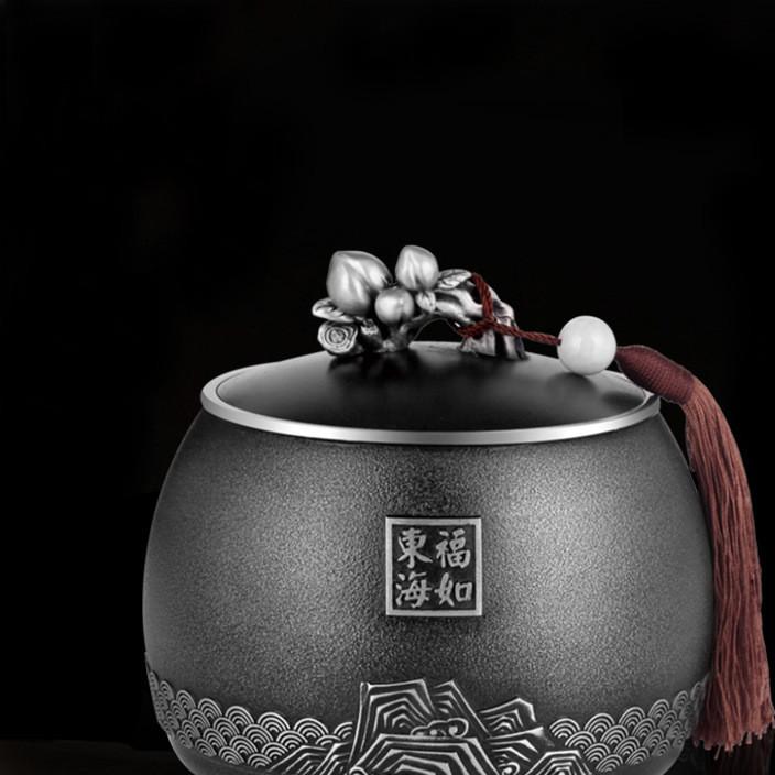 纯锡茶叶罐大号锡罐定制锡茶叶罐密封储茶罐商务礼品批发福寿安康