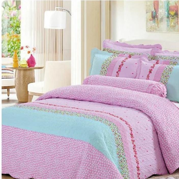 韩式绗缝被外贸纯棉水洗被绗缝床盖三件套床上用品浦江厂家批发