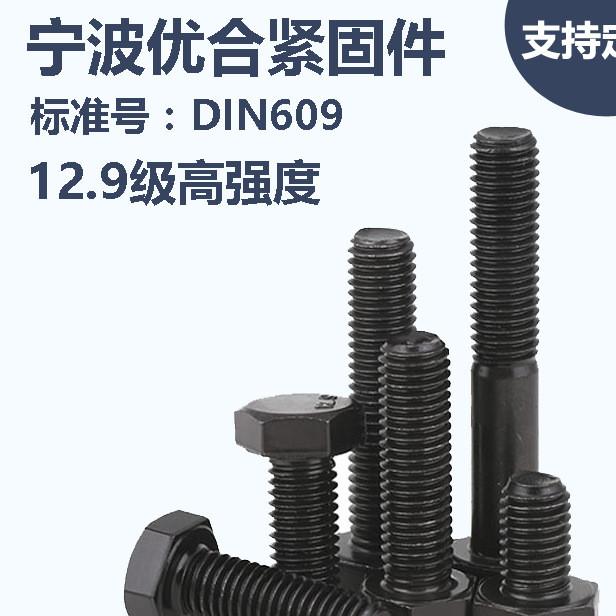 宁波优合 DIN609 发黑 12.9级高强度 外六角加强杆螺栓 现货