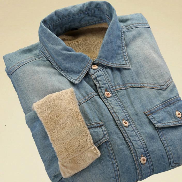 秋冬新款加绒男式长袖牛仔衬衫宽松大码休闲加厚全棉男士衬衣外套