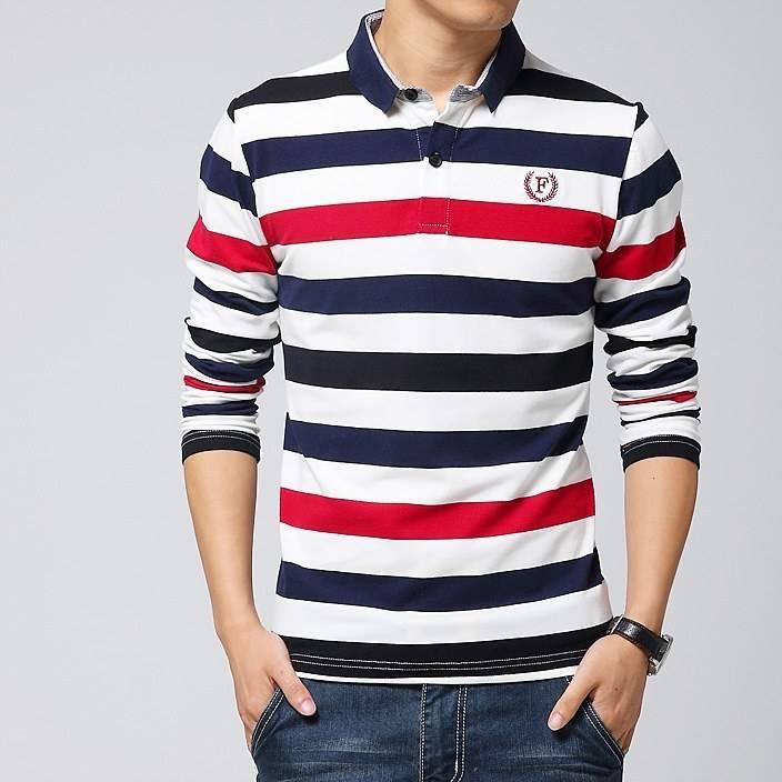 2015男式长袖t恤韩版修身高端条纹T恤服装代发货支持一件代发6615