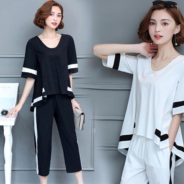 大码女装休闲时尚套装2018夏季新款韩版胖MM气质两件套