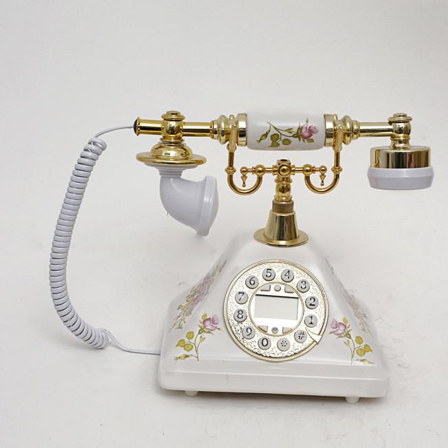 至臻精品欧式电话时尚可爱陶瓷仿古电话机复古座机免提来电显示