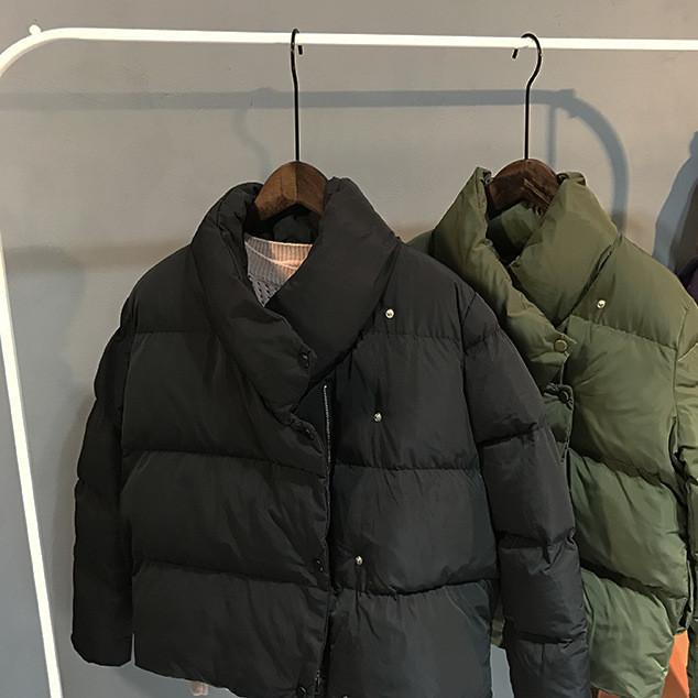 708滔川时光冬装旅人新款韩国女装纯色不规则女式面包服短款棉衣