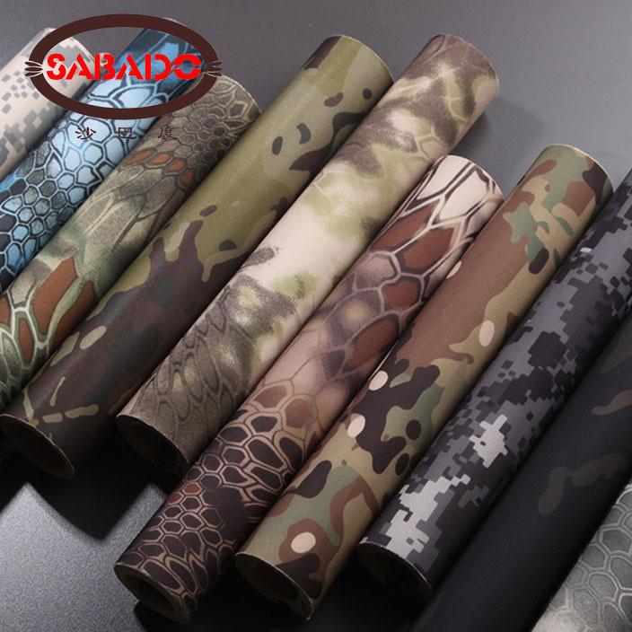 厂家直销酋长自粘伸缩丛林迷彩胶布松紧可调仿生布料贴纸狩猎伪装