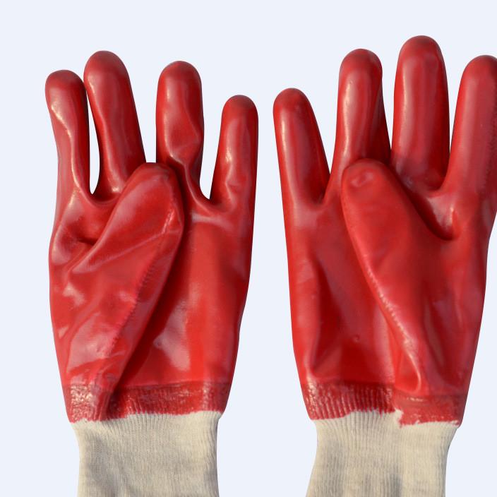 厂家直销红色PVC罗口手套防冻浸塑防滑耐磨工业劳保手套