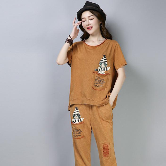 2018夏季新款短袖T恤哈伦裤两件套胖MM文艺大码女士休闲运动套装