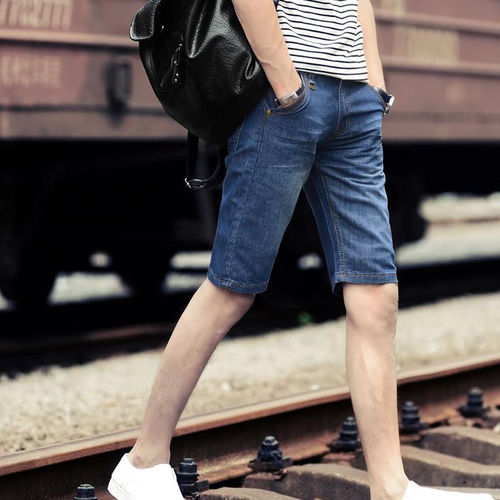 男式中裤牛仔裤男修身直筒青春潮流青春5分短裤支持一件代发