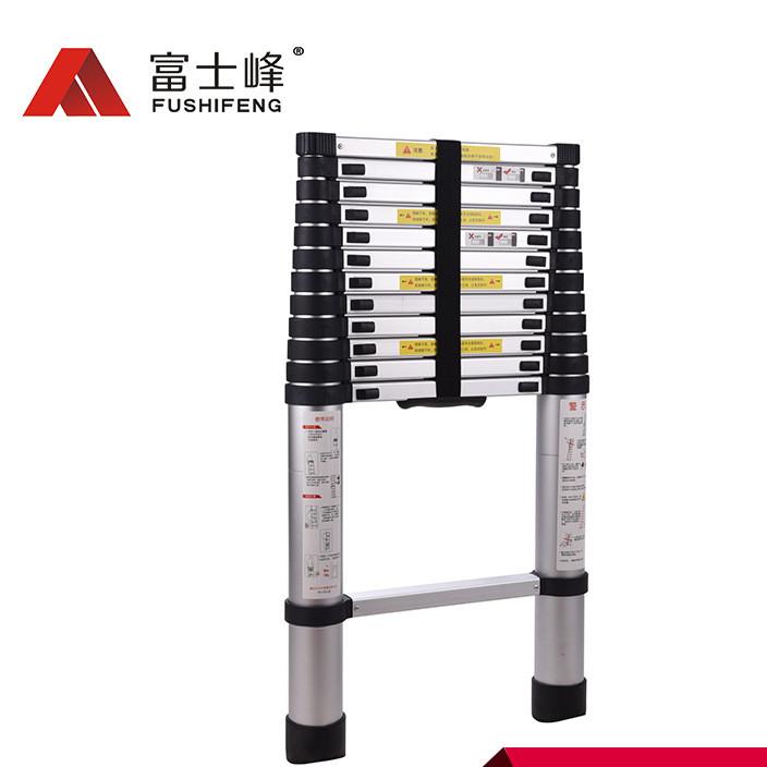 厂家批发加厚铝合金梯子标准款单面伸缩梯3.8m多功能竹节梯伸缩梯