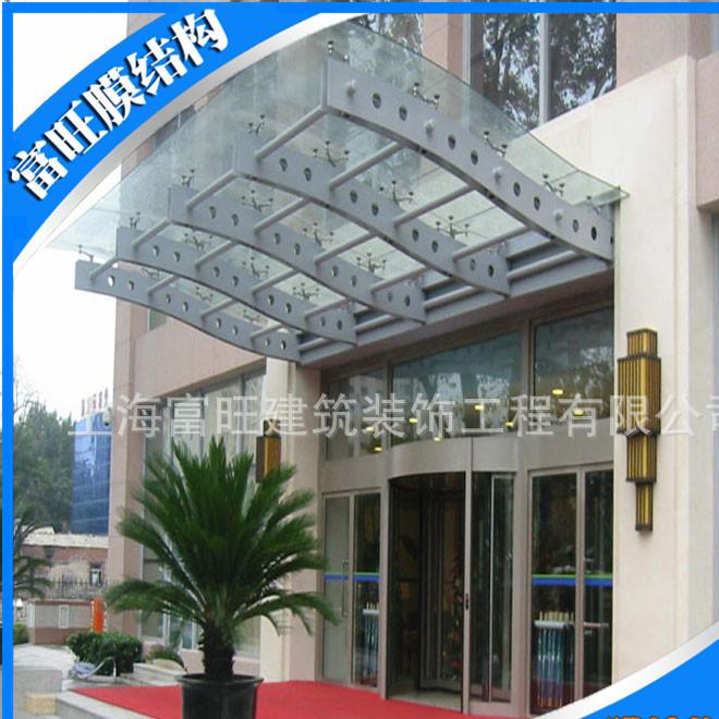 专业生产Q235钢结构雨棚夹胶钢化玻璃雨棚现场实拍大图