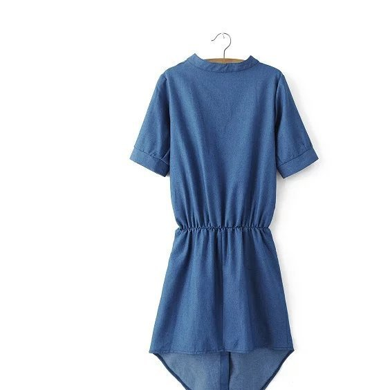 #SN683 2016专柜同款 欧美风牛仔连衣裙 系带修身裙女式