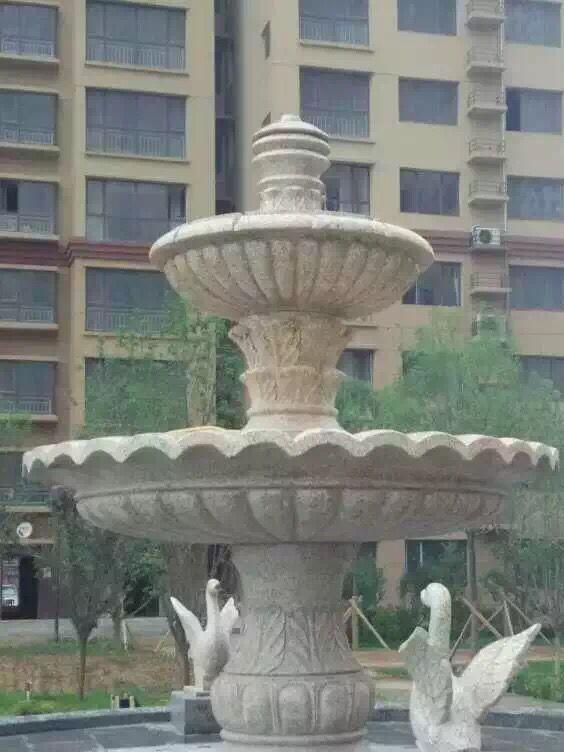 供应喷水池大型欧式广场喷泉 黄锈石小区石雕喷泉摆件
