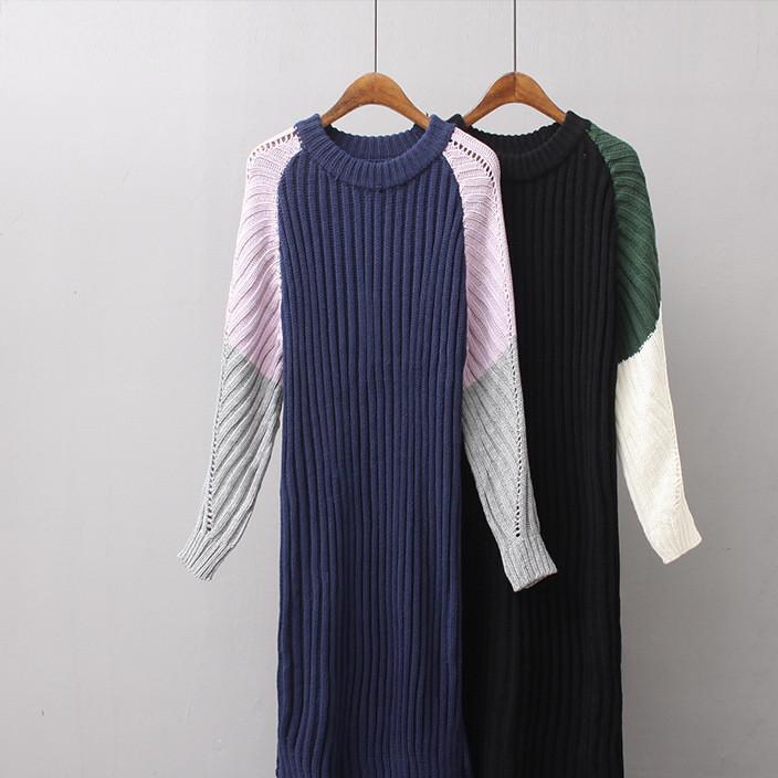外贸女装 欧洲站秋冬新款撞色粗针直筒长款套头毛衣女针织连衣裙