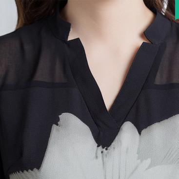 2016新款女装韩版大码镂空网纱修身七分袖上衣打底衫