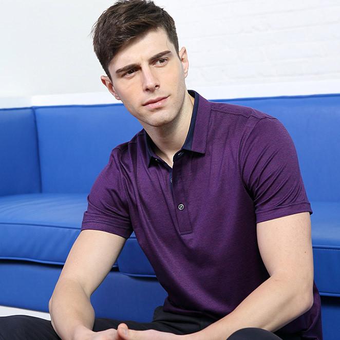 桑蚕丝短袖t恤男中年男士翻领真丝T恤衫 POLO衫中年商务男装批发