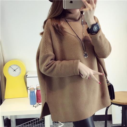 2016秋冬新款 韩版套头中长款女士针织衫打底毛衣批发