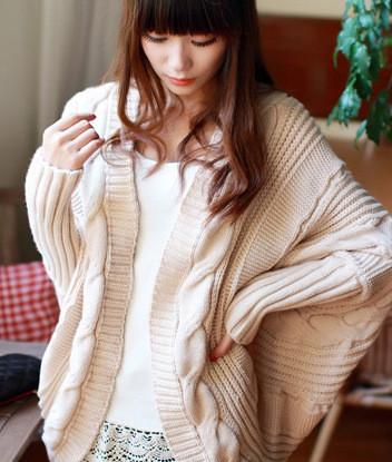 新款秋冬装不规则蝙蝠袖针织开衫宽松披肩加厚毛衣女外套针织衫