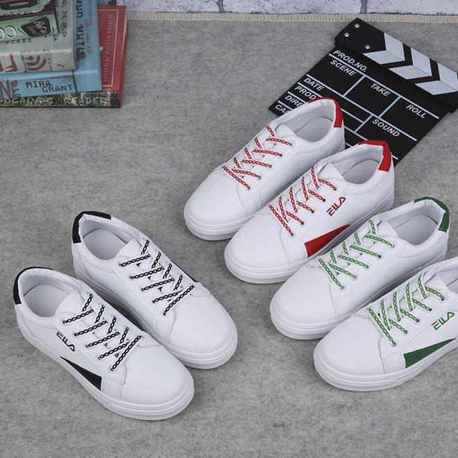 夏季低帮女鞋韩版胶粘鞋纯色圆头系带平跟小白鞋女鞋