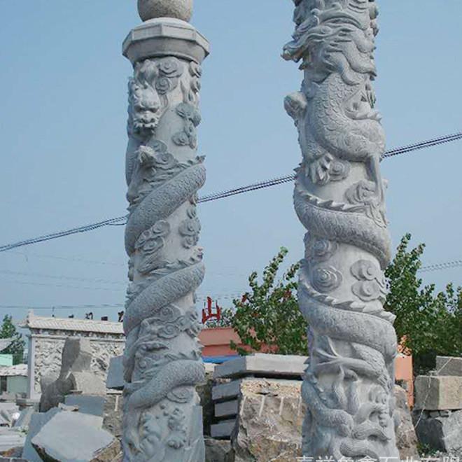 嘉祥鲁鑫出售石刻盘龙柱 公园建筑美化石雕龙柱 定制加工