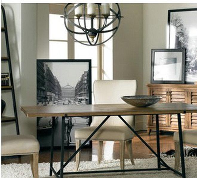 经销供应 复古餐厅桌子 铁艺实木西餐桌椅组合长方形AJ-0005