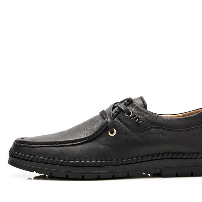 春秋款系带休闲男鞋男士日常运动商务圆头鞋缝底舒适驾车板鞋代发