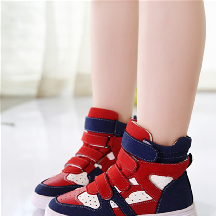 童鞋儿童高帮真皮中大童韩版春秋冬新款加绒亲子男女童休闲鞋板鞋