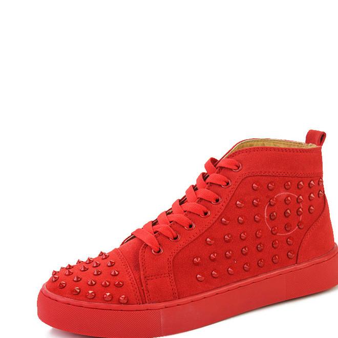 韩版GZ高帮板鞋男鞋铆钉高帮鞋男短靴内增高红色发型师潮鞋批发