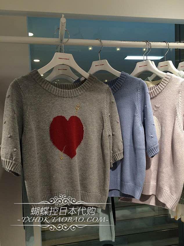 日本杂志揭载3月新品merry jenny 爱心休闲短袖豆豆袖子毛衣