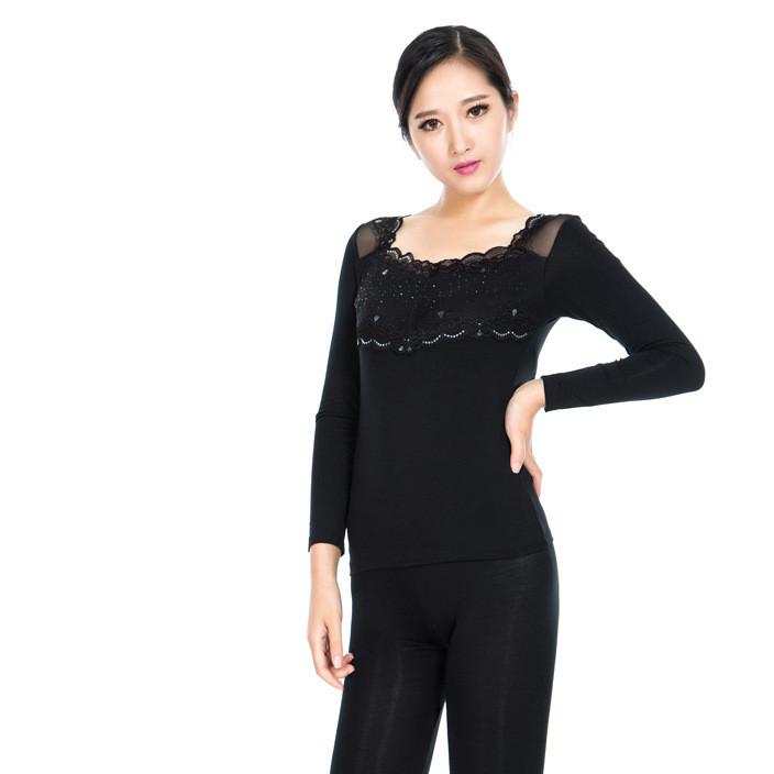 新款冬春女士保暖莫代尔竹纤维秋衣秋裤套装塑身美体时尚薄款
