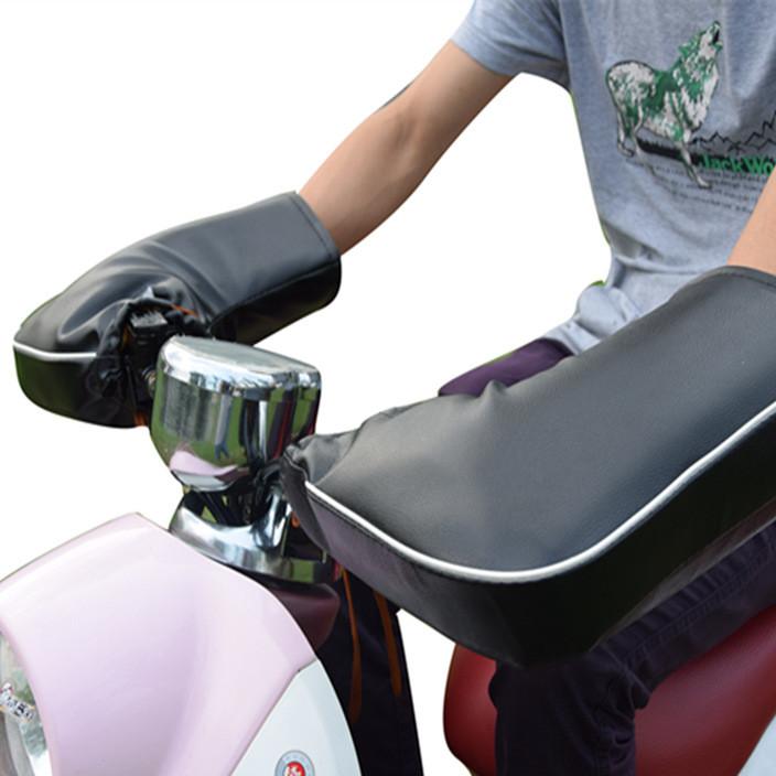 冬季电动电瓶摩托车手套加厚骑行保暖防寒防水挡风男女PU皮手把套