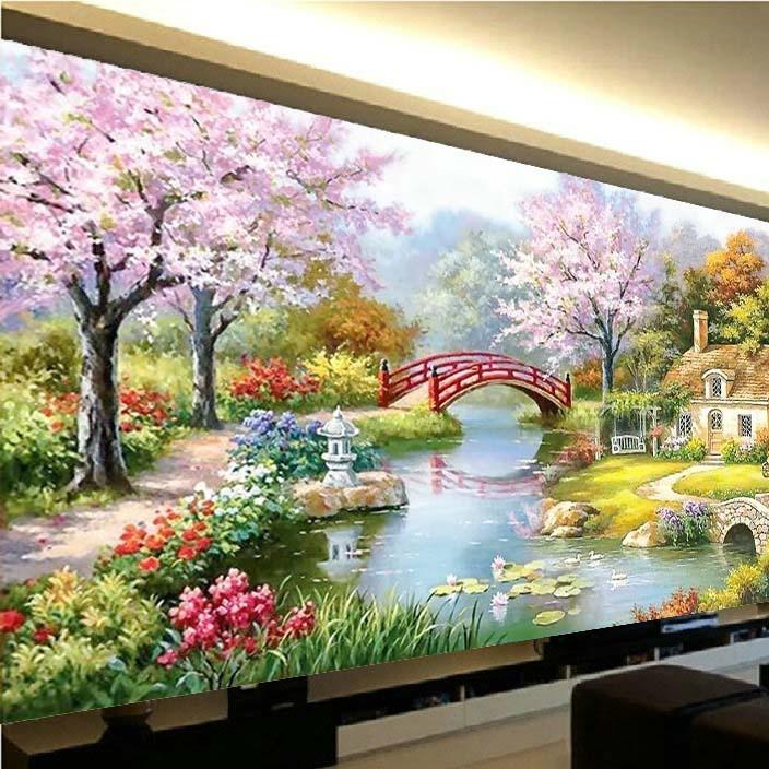 十字绣新款客厅欧式油画花园小屋山水风景画魔方圆钻贴钻画钻石绣