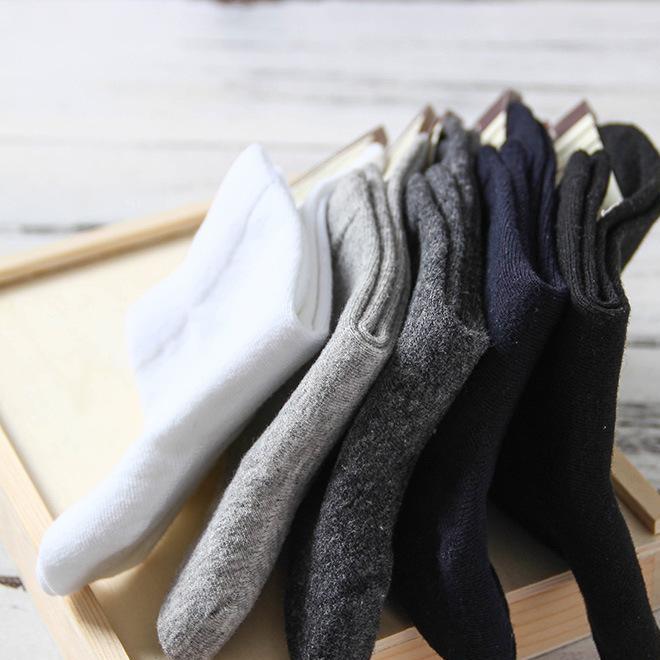 厂家直销新款无印男士棉袜秋冬款中筒良品全棉商务袜纯色袜子批发