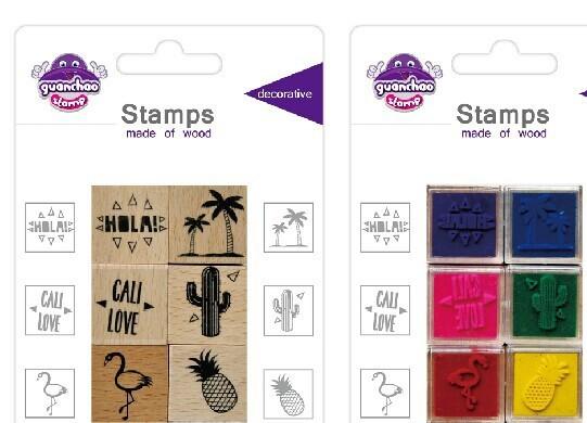吸卡装木质印章 儿童木质印章 卡通万次印章 环保可定制木质印章