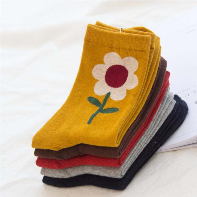 秋冬季中国风向日葵植物小花简约文艺范创意纯棉女士中长筒袜子