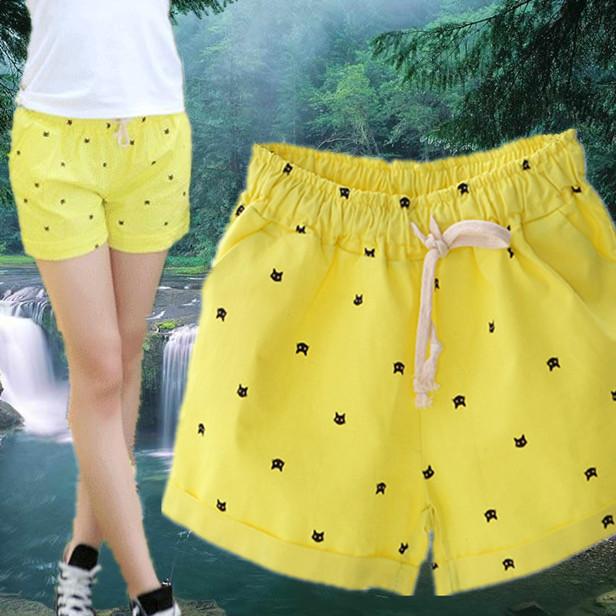2015年夏季韩版甜美日系小猫大嘴猴印花松紧休闲短裤全棉正品女装