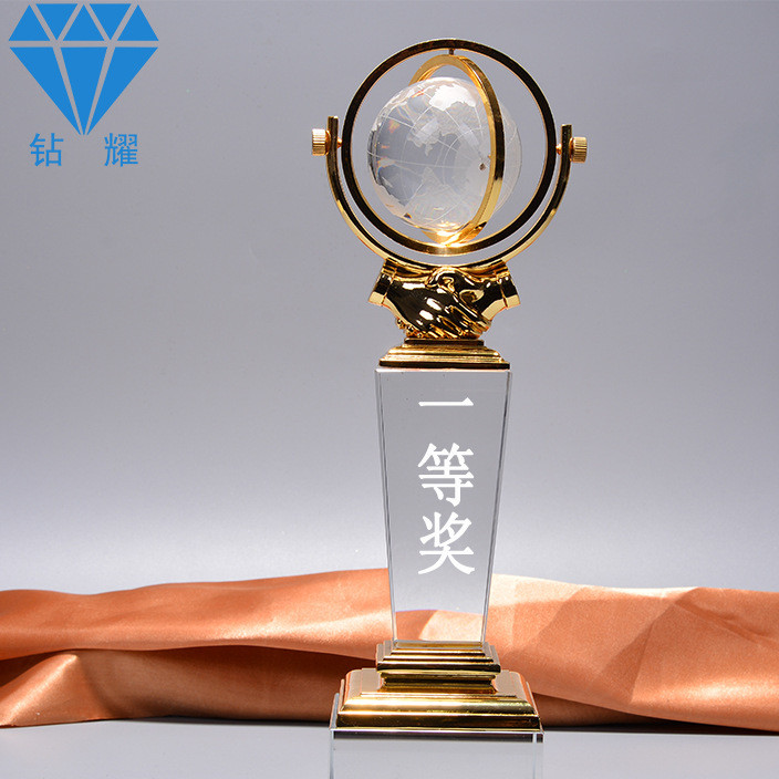 创意金属滚动地球仪奖杯奢华水晶奖牌定制 水晶金属工艺品批发