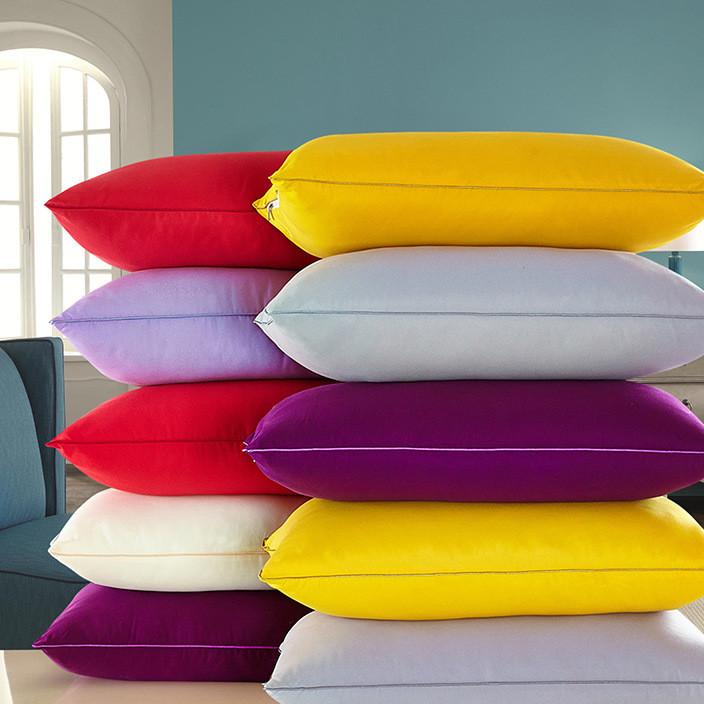 厂家直销婚庆床品纯色全棉枕芯 贡缎提花绣花纯棉枕头加枕芯