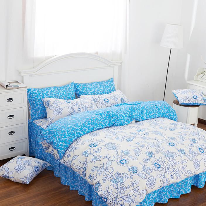 南通床上用品批发纯棉活性印花韩式花边四件套AB版床裙款花卉简约
