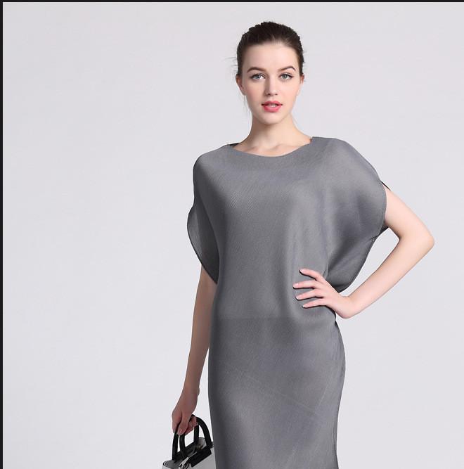三宅褶皱女装连衣裙夏 精致女人妈妈装一生美丽不规则高端裙子